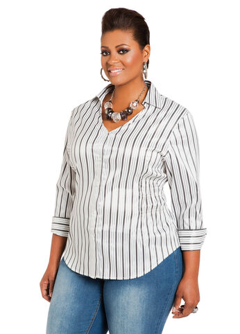 Striped Y-Neck Button-Front Shirt