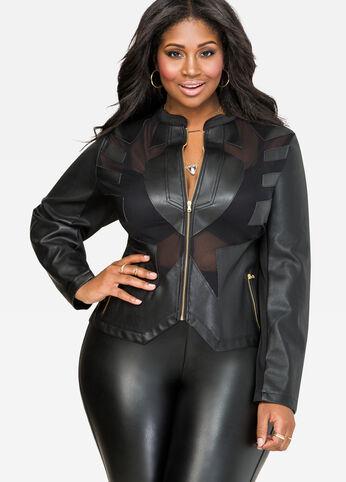 Mesh Faux Leather Jacket