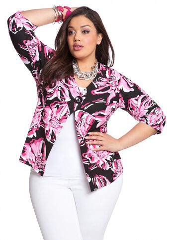 Floral Print Linen Jacket