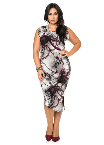 Studded Status Print Dress