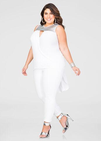 Plus Size White Sleeveless Surplice Shirt