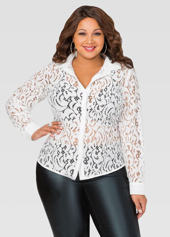 Unlined Paisley Lace Chiffon Shirt