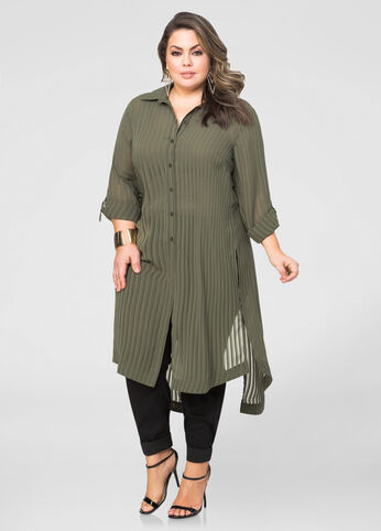 Split Back Shadow Stripe Duster