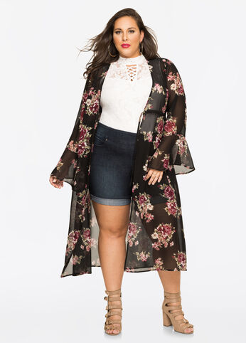 Floral Chiffon Duster
