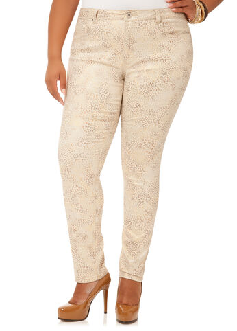 Metallic Animal Print 5-Pocket Skinny Jeans