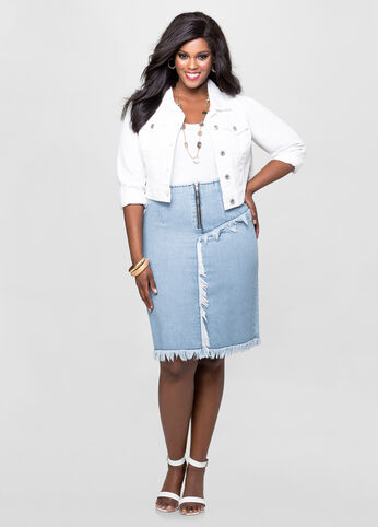 Frayed Midi Jean Skirt