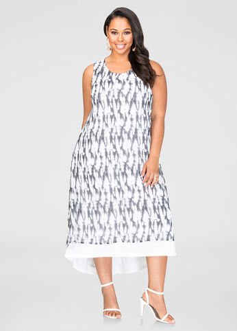 Printed Hi-Lo Maxi Dress