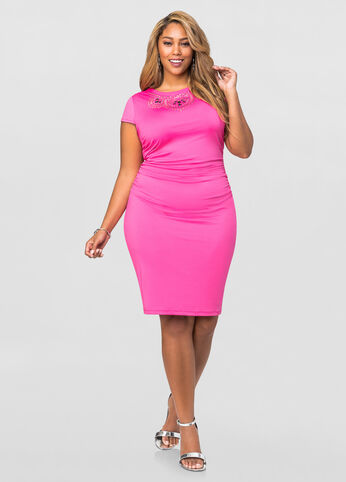 Ruched Stud Front Bodycon Dress