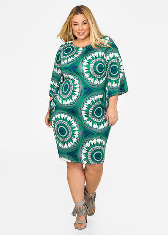 Stain Print Bell Sleeve Dress