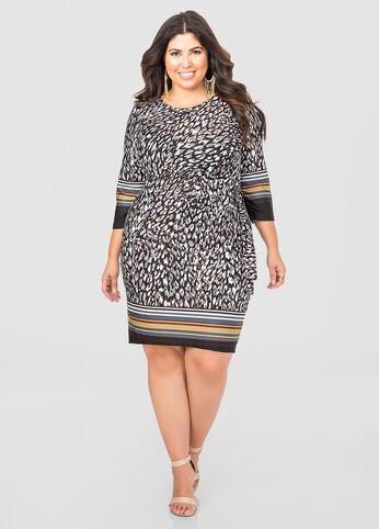 Ruched Side Stripe Border Dress