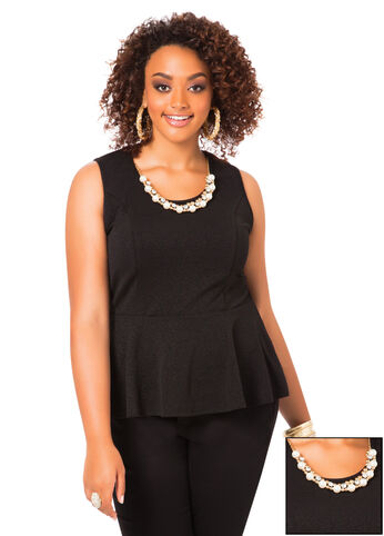 Textured Peplum with Removable Beads