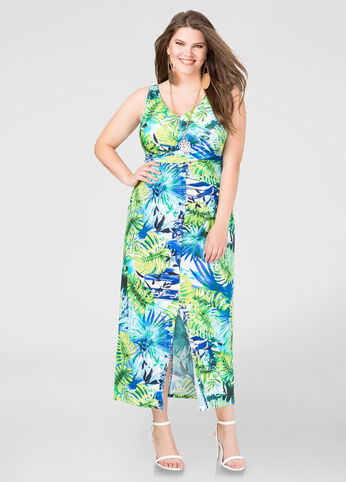 Front Slit Palm Print Maxi Dress