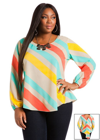 Bold Stripe Fishtail Blouse