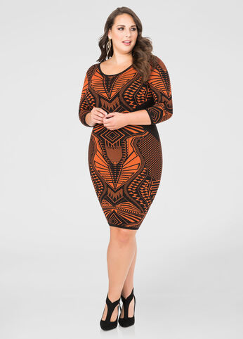 Geo Bodycon Sweater Dress