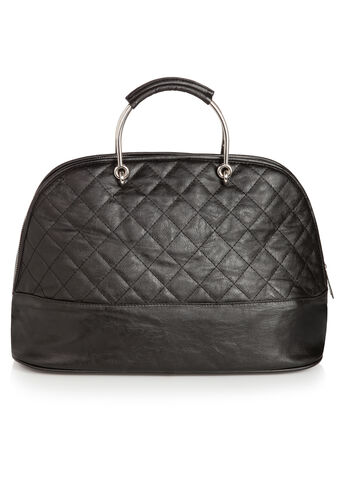 Quilted Metal Handle Satchel Bag