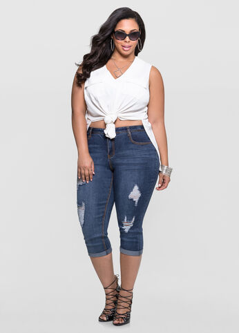 Destructed Cuffed Capri Jeans