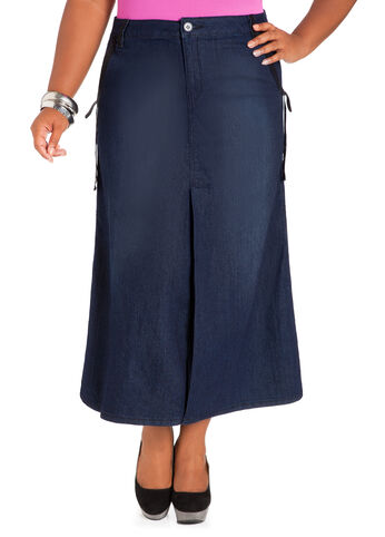 Side Draped Denim Skirt