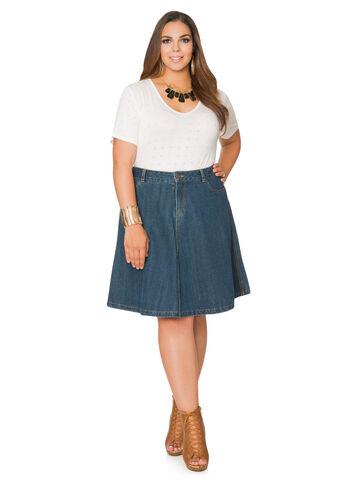 Five Pocket A-Line Jean Skirt