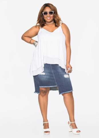 Deconstructed Jean Skirt Medium Blue - Jeans