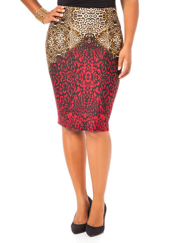Animal Print Ponte Pencil Skirt