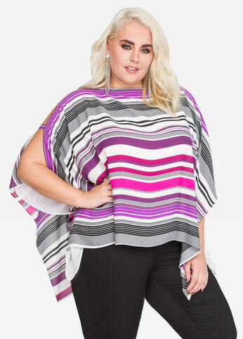 Striped Chiffon Poncho Top