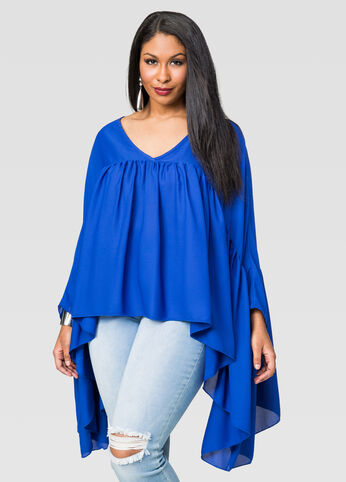 Hi-Low Swing Poncho Top