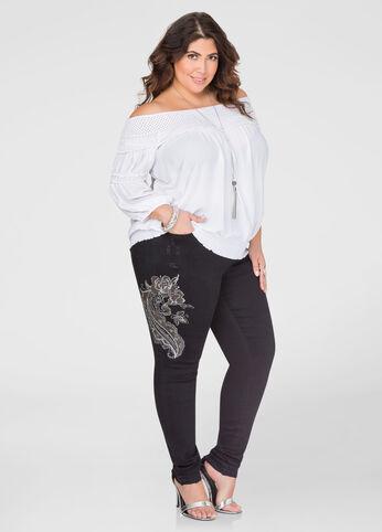 Embroidered Metallic Paisley Skinny Jean