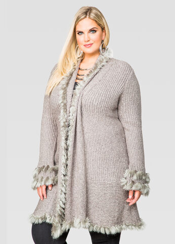 Faux Fur Trim Drapey Cardigan