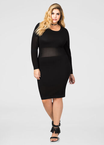 Mesh Waist Bodycon Sweater Dress