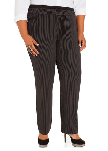 Striped Contrast-Waist Pants