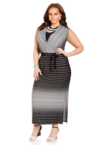 Wrap Front Striped Maxi Dress