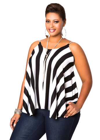 Striped Chain Sweater Top
