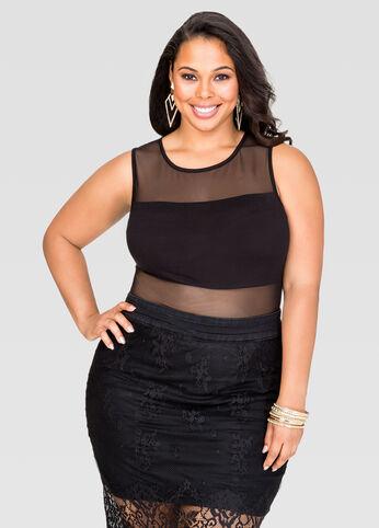Plus Size Mesh Bodysuit in Black
