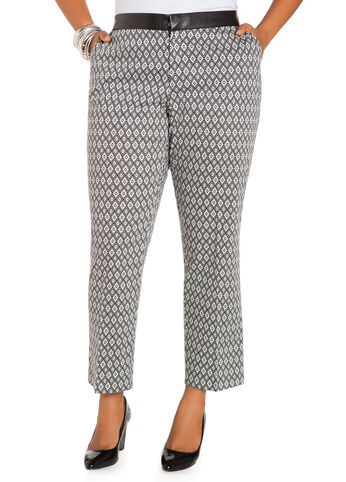 Faux Leather Waist Geo Print Pants