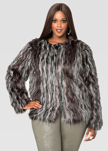 Collarless Multi Fur Jacket