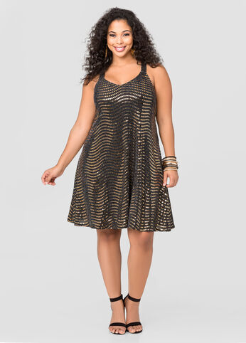 Flat Sequin Swing Dress