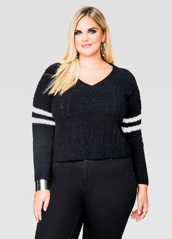 Varsity Stripe Crop Top Sweater