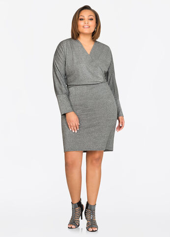 Glitter Surplice Blouson Dress
