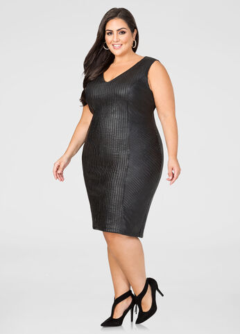 Faux Leather Strips Sheath Dress