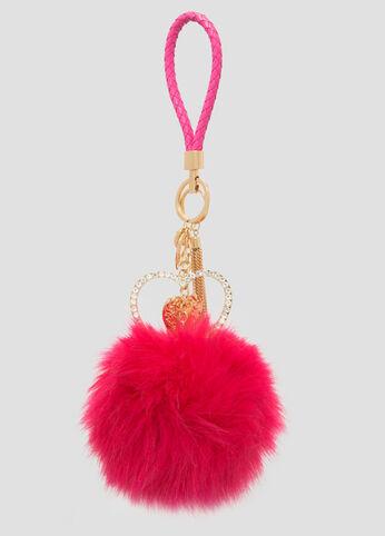 Heart Fur Pom Handbag Charm