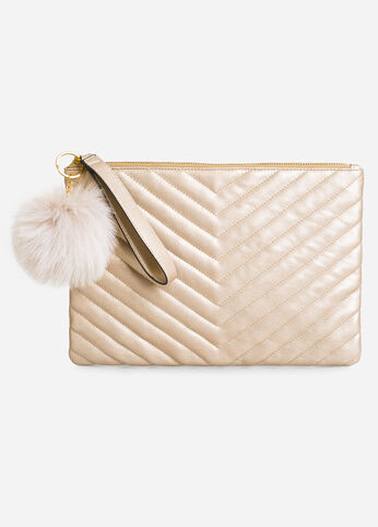 Quilted Chevron Pom Wristlet Clutch