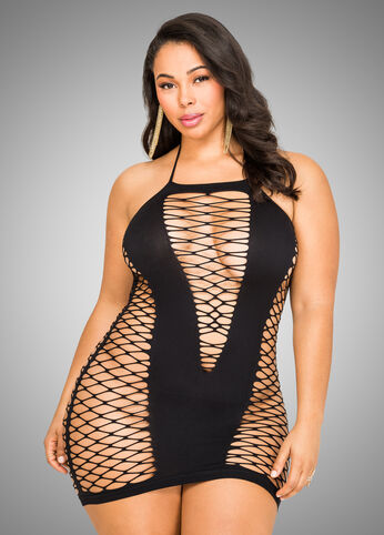 Black Plunge Mesh Lingerie Dress