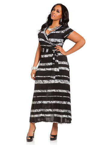 Lace Print Surplice Maxi Dress