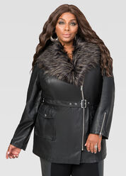 Faux Fur Collar Leather Jacket