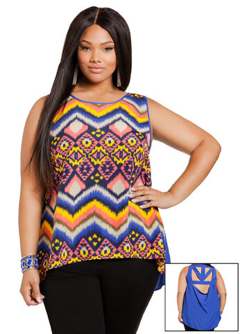 Aztec Hi-Lo Sleeveless Top