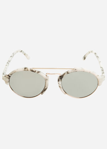 Double Top Bar Round Sunglasses