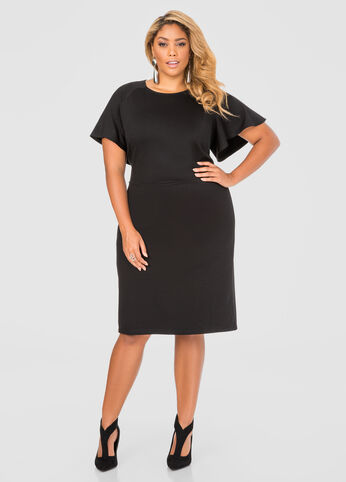 Flutter Sleeve Tailored Dress
