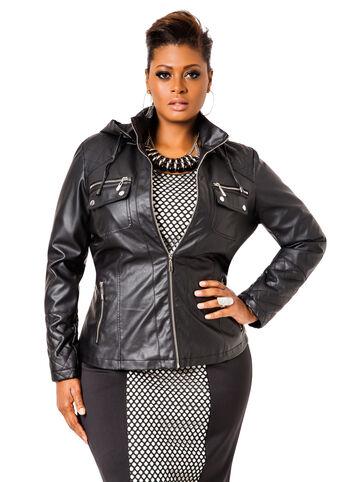 Hooded Pleather Zip Up Jacket