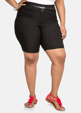 Belted Ultra Stretch Shorts