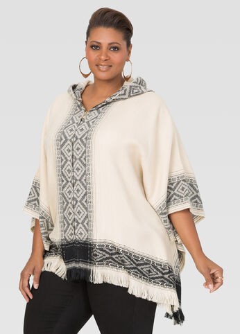 Hooded Zip Front Poncho at Ashley Stewart